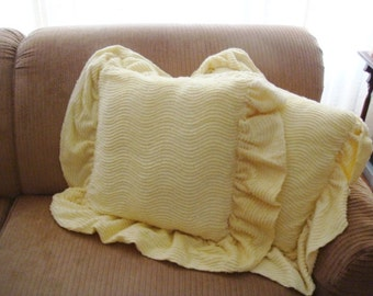 Yellow Chenille Pillows - Set of 2 - Soft Yellow Chenille