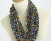 Valentines Day, Knit Cowl, Necklace Scarf, Circle Scarf, Gift For Her, Multi-Color Scarf, Women Scarf, Fiber Art, Fashion Scarf Spring Scarf