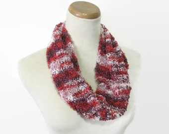 Red White Scarf, Spring Scarf, Knit Cowl, Hand Knit Scarf, Circle Scarf, Loop Scarf, Gift For Her, Fashion Scarf, Women Scarf, Fiber Art