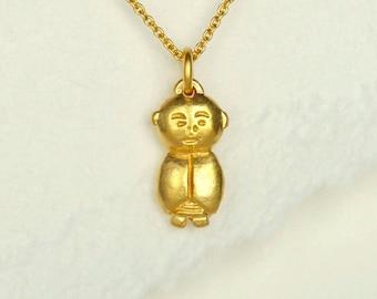 Gold Jizo Pendant, Gold Jizo Necklace, Gold Buddha Jewelry, Buddhist Jewelry, Meditation Jewelry, Spiritual Necklace, Buddha Accessories
