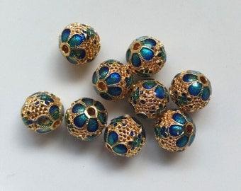 2 PCs 10mm Tibetan beads, Hollow Carved Beads , Flower beads, Carving beads, Round beads, Round Tibetan beads, Metal Round beads