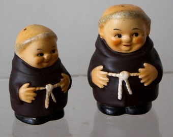 Collectable West Germany Friar Tuck Fat Monks Salt and Pepper Shakers