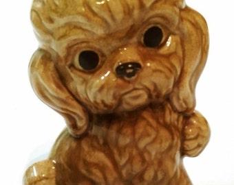 "Vintage ceramic poodle figurine money still bank mid century signed 6"""