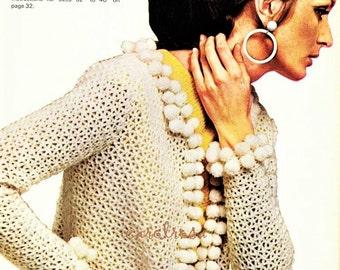 Download - Crochet Pattern Bobble Fringe Jacket Vintage Instant  PDF - Style is Back in Fashion