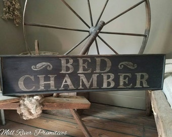 Early looking Antique Primitive BED CHAMBER Sign