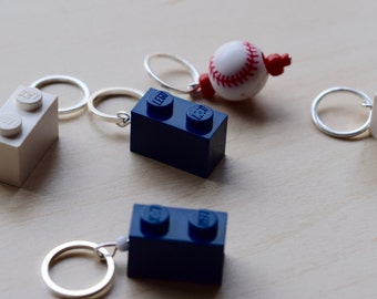 Navy and White Baseball Lego Stitch Markers - Set of Five