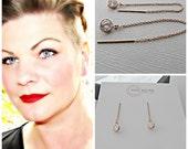 Rose Gold Diamond Earrings, Rose Gold, CZ Diamond Earrings, CZ Earrings, Threader Earrings, Rose Gold Threader Earrings, Drop Earrings