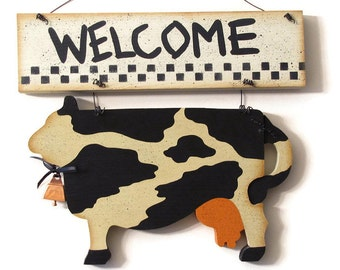 Cow Welcome Sign, Handpainted Wood, Hand Painted Prim Home Decor, Primitive Wall Art, Tole Decorative Painting, L1