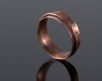 Copper Spinner Ring, Oxidized, patina, fidgit ring, worry ring, hand hammered, texture, hand forged
