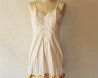 Bohemian Slipdress - Refurbished lace hem Picnic Layering Slip