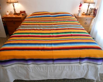 Striped Southwestern Wool Blanket/Lightweight Multi Color with Light Fringed Edge