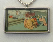 RESERVED Fascinating Chinese Antique Cigarette Card, Chinese Theater or Religious Ceremony, Fancy Chain, Historical Pendant,by SandraDesigns