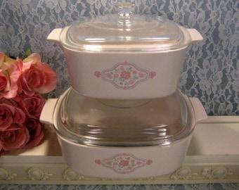Vintage Corning Ware English Breakfast Casserole, Four Piece Set, Pyroceram Glass Cookware Bakeware, Retro Mid Century Kitchen,