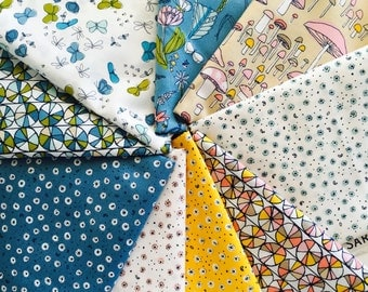 SALE.... Pre-cut Certified Organic Cotton fabric by Cloud9 and Sarah Watson, Arcadia - half yard bundle, 9 total