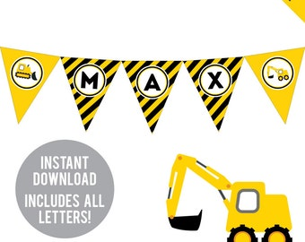 INSTANT DOWNLOAD Construction Party - DIY printable pennant banner - Includes all letters, plus ages 1-18