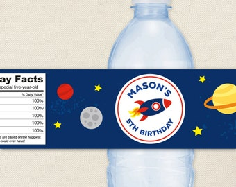 Rocket / Outer Space Party - 100% waterproof personalized water bottle labels