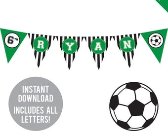 INSTANT DOWNLOAD Soccer Party (Green) - DIY printable pennant banner - Includes all letters, plus ages 1-18