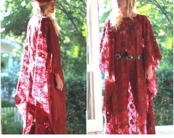 lace Kaftan, Bohemian gypsy burgundy lace Caftan, Stevie Nicks style maxi Kaftan, Boho Music festival clothing, Romantic True rebel clothing