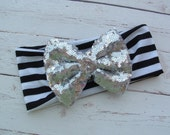 Silver Sparkle Bow and Black Striped Knit Headband