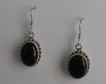Vintage Sterling  Earrings Black Onyx Stone