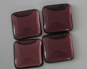 4 pc Purple  Amethyst Square Antique Glass Cabachons 18mm