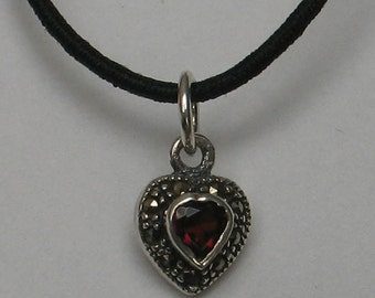 Rescued Upcycled Tiny Vintage Sterling Marcasite  Garnet  Heart Pendant
