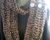 Long Crochet Scarf,  Brown Variegated, Warm Thick Cowl, Button Scarf