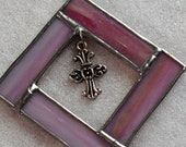 Pink Cross Frame, Stained Glass Frame, Cross