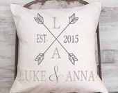 Wedding Gift Personalized Pillow Cover Wedding Gift Cotton Anniversary Gift Two Arrows