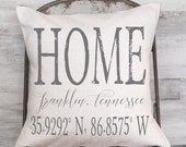 Housewarming Gift, Wedding Gift, New Home Gift, Coordinates Pillow Cover, Longitude Latitude City and State Pillow Cover