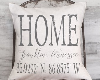 Housewarming Gift Wedding Gift New Home Gift Coordinates Longitude Latitude City and State Pillow Cover