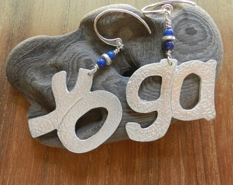YOGA Earrings in Fine Silver and Lapis