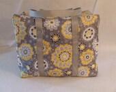 Cricut Cuttlebug Carrying Case / Cricut Cuttlebug Bag / Cuttlebug Tote / Grey and Yellow Flower Print