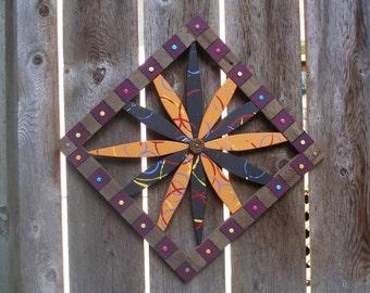 "Festive Starburst Outdoor Folk Art Wall Art in Rustic Cedar Frame for Home & Garden - 18""x18"" - Only One Available"
