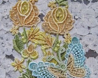 Yellow Lace Rose Butterfly Hand Dyed Venise Embellishment Crazy Quilt Applique