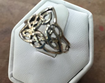 Celtic Sterling Silver Ring Sie 7.5