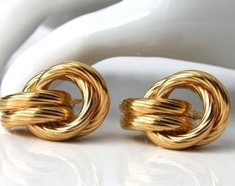 Vintage NAPIER Goldtone Clip On Earrings