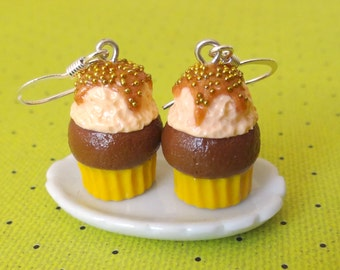 Caramel ice cream cupcake earrings