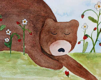 Bear original watercolor, brown grizzly bear, children's art, strawberry field, woodland, whimsical, nursery art, sleeping bear