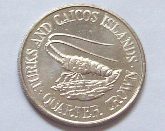 Lobster Turks and Caicos Islands Quarter Crown 1981