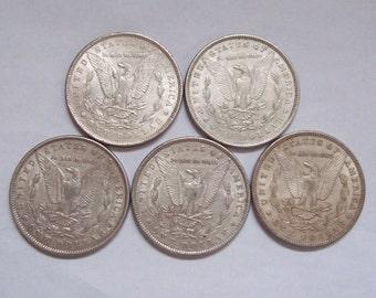 5x 1800s US Silver Dollars Morgan Type Nice Condition 1879 1880 1886 1889 1896
