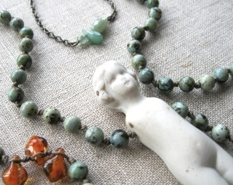 Assemblage Necklace- Boho Bohemian - Statement - Long Beaded Strand - Porcelain Doll - Frozen Charlotte - Vintage Antique - Turquoise