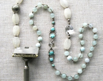 The Cut - Vintage Razor Assemblage Necklace - Boho - Statement - Antique - Long Beaded Strand Pendant Necklace - Up-cycled - Repurposed