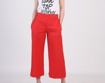 Wide Leg Crop Red Pants with Pocket, Wide Crop Pants, Wide Bottom Pants, Red Linen Pants,  Ankle Pants, Palazzo Pants, Pull On Pants