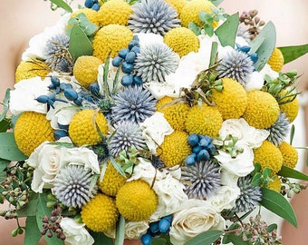 Wedding flowers; craspedia, blue thistle and white floral