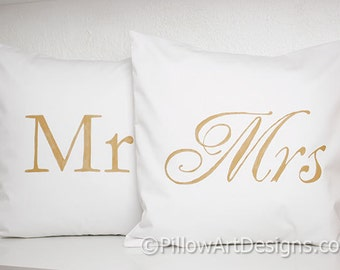 Wedding Pillow Covers Gold and White Mr and Mrs 16 X 16 Made in Canada Ready to Ship