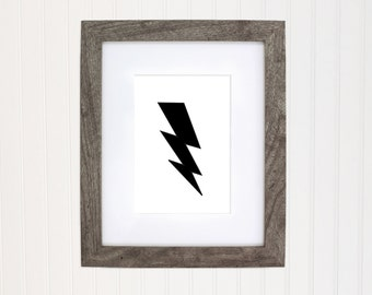 Lightening Bolt art print, black and white art, kids room decor, baby nursery, home decor, digital download