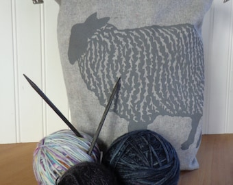 Trundle Bag- Sheep Design, Roll Down Top Knitting Project Bag