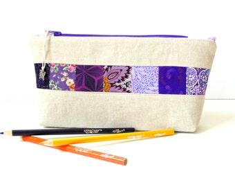 Zipper pouch, pencil case, cosmetic bag, makeup bag, purple patchwork, quilted bag, teen women, gadget case, pencil pouch