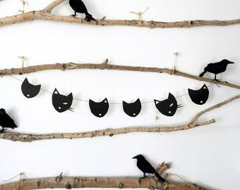 Black Cat Glitter Halloween Banner